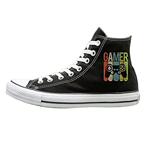 SH-rong Vintage Game Controller High Top Sneakers Canvas Shoes Fashion Sneakers Shoes Unisex Style Size 40