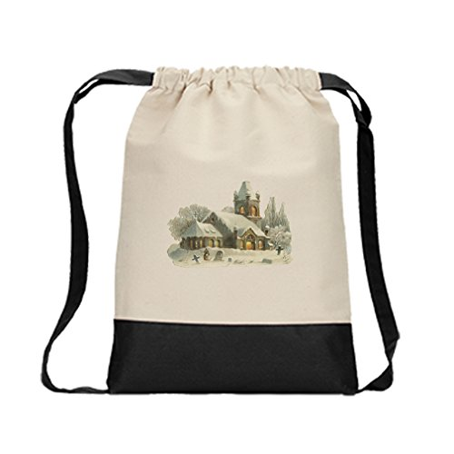 Canvas Backpack Color Drawstring Church In Winter Vintage Look By Style In Print | Black by Style in Print