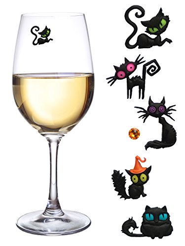 Black Cat Magnetic Wine Glass Charms or Markers Set of 6 by Simply Charmed ()