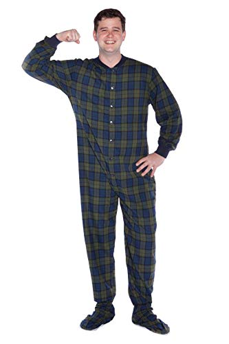 Navy Blue & Green Plaid Cotton Flannel Adult Footed Pajamas Onesie Sleeper for Men & Women