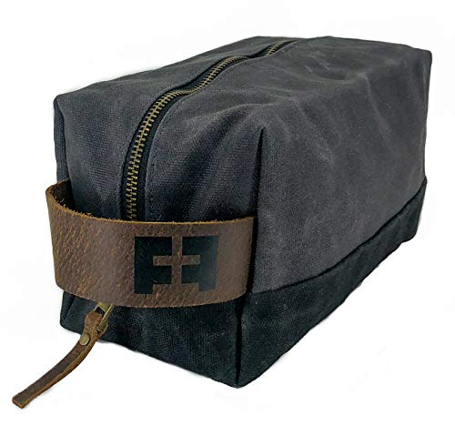 the DOPP KIT | Waxed Cotton Canvas shave and toiletries bag with leather handle by FAT FELT