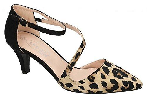 Dekor På Kvinnor Syntetiska Läder Dagdrivare Flats Tan Leopard