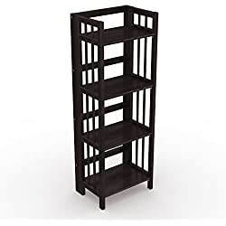 "Stony-Edge Folding Bookcase, Easy Assembly Bookshelf for Home Office Storage. 16"" Espresso"