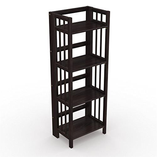 "Stony-Edge No Assembly Folding Bookcase, 4 Shelves, Media Cabinet Storage Unit, for Home & Office, Quality Furniture. Espresso Color. 16"" Wide."