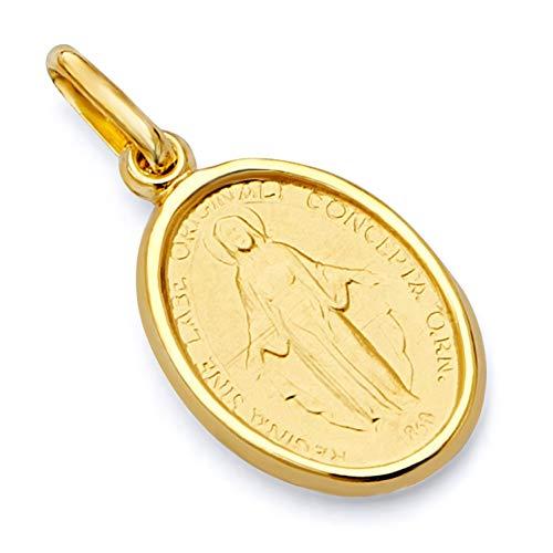 14k Yellow Gold Religious Virgin Mary Medal