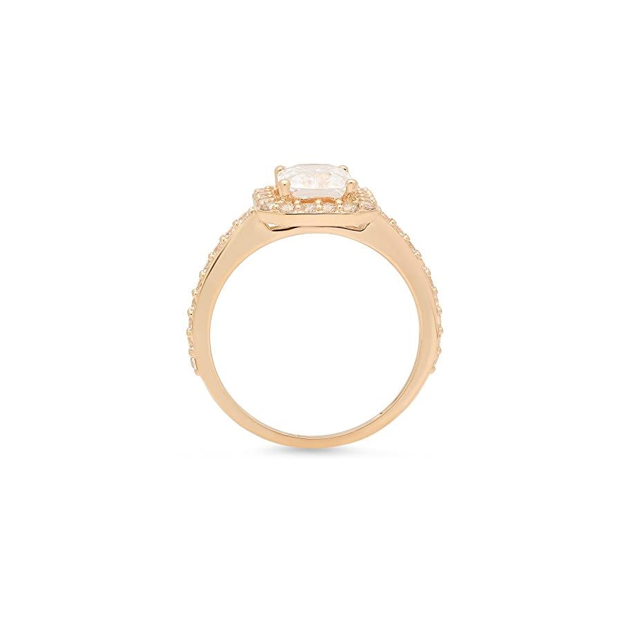 Clara Pucci Anniversary Emerald Round Cut Solitaire Halo Engagement Wedding Bridal Promise Ring in Solid 14k Yellow Gold, 1.92CT