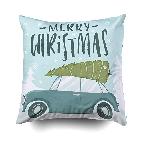 GROOTEY Decorative Cotton Square Pillow Case Covers with Zippered Closing for Home Sofa Decor Size 20X20 Inch Costom Pillowcse Throw Cover Cushion Halloween Merry Christmas Merry Christmas Happy New -