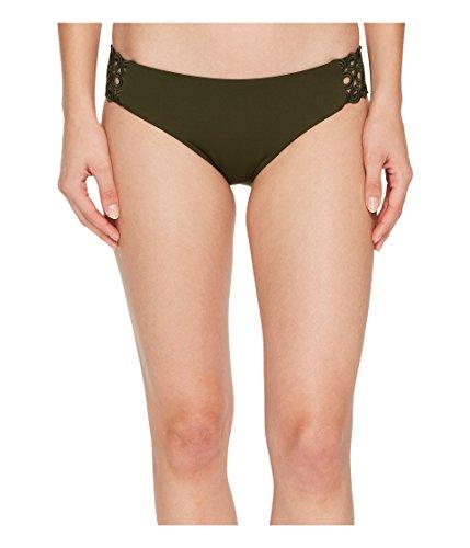 - Becca by Rebecca Virtue Women's Siren Tab Side Hipster Bikini Bottom Bay Leaf M