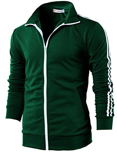 H2H Mens Active Slim Fit Lightweight Line Training Full Zip-up Jacket DarkGreen US M/Asia L (CMOJA0103) - Top Tank Element Cotton