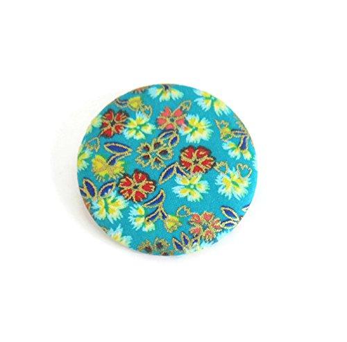 Broche En Tissu Fleuri Japonais Bleu Turquoise Dore Badge