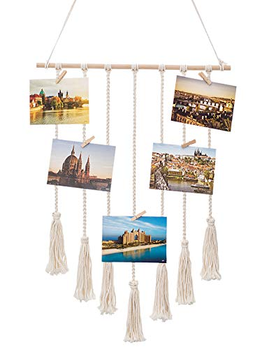 (YXMYH Hanging Photo Display Macrame Wall Hanging Pictures Organizer Home Decor, Bohemian Home Decor, with 25 Wood Clips)