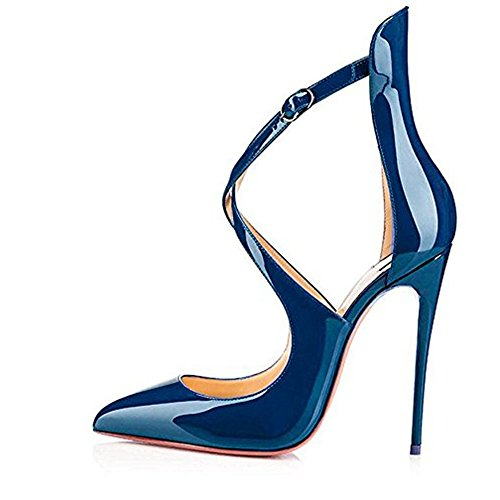 Spitze Cross Zehen Lack Heels Sandalen Stiletto Glas Hochzeit Party Blau Damen Onlymaker Criss High CqxU55