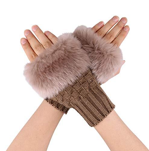 Simplicity Women's Winter Faux Fur Knit Fingerless Mitten Gloves,1485_Camel