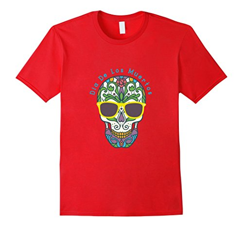 Sugar Skull Costume Male (Mens Sugar skull Costume T shirt Medium Red)