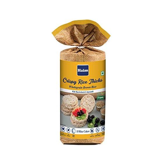 HAIM Organic Crispy Rice Thicks Wholegrain Brown Rice Cake with Buckwheat and Amaranth (Pack of 1)
