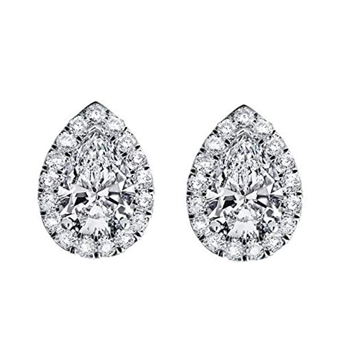 (925 Sterling Silver 3.50 Ct Pear & Round Cut Simulated Diamond Halo Stud Earrings For Women's)