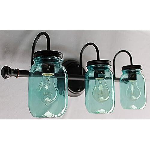 Mason Jar Lighting, 3 light dark bronze vanity light with blue mason jar glass 60%OFF