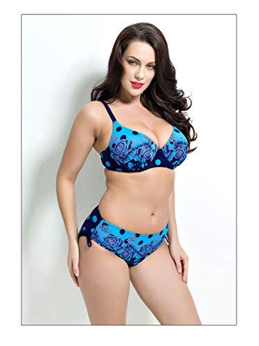 Donna Altezza Blu Di Costume Pezzi Da Bellissimo Media Stampa Imbottitura Lanbinxiang Due Con In cut Fili Reggiseno Pois A Low Su Sexy Bikini Bagno Senza xYZSqnwO