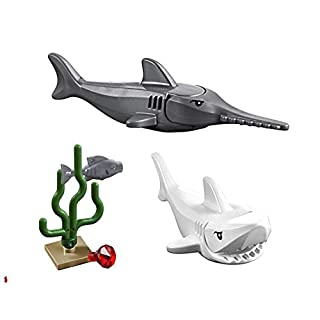 LEGO Great White Shark and Sawfish Combo (with Sea Plant, Jewel, and Fish) 60095