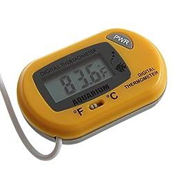 UEETEK LCD Digital Thermometer for Aquarium Fish Tank Water Temperature (Yellow)