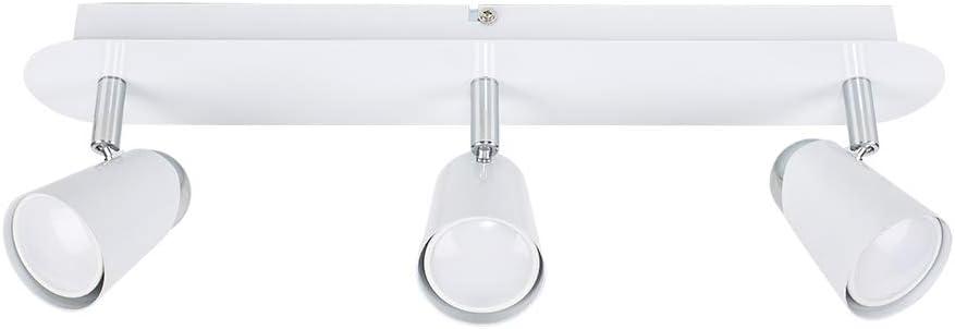 MiniSun Plafonnier Lustre 3 Spot Moderne Aux Trois T/êtes R/églables En Chrome /Él/égant et avec Globes en Verre D/écor/é avec Grillage Toronn/é