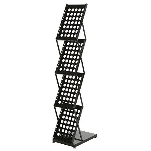 Modern Folding 4 Tier Metal Magazine Rack, Freestanding Literature Display Stand, Black by MyGift (Image #5)