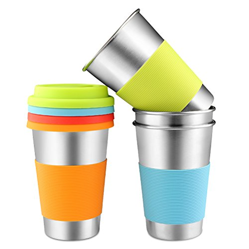 Stainless Steel Cups, Spnavy 16 oz 18/8 Steel Stackable Durable Pint Cup Tumbler for Kids and Toddlers, Beer Glasses for Pubs, Bars, Restaurants, Travel, Outdoor, Camping, Everyday - 4 pack