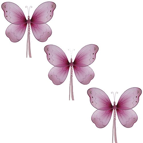 The Butterfly Grove Briana Mesh/Nylon 3D Hanging Decoration, Dark Pink, Small/5