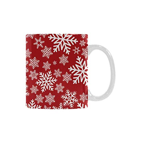 InterestPrint Christmas Snowflakes on Red Background White Ceramic Funny Coffee Mug Cup for Women Men Kids Mom Dad Friends, 11 Ounce
