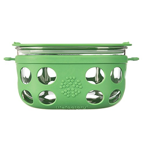 Lifefactory 4 Cup BPA-Free Glass Food Storage and Bakeware with Protective Silicone Sleeve and Lid, Grass Green