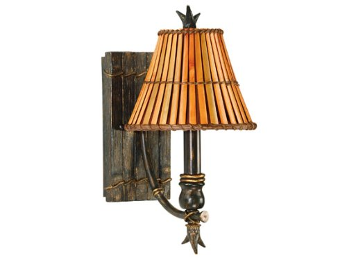 Kenroy Home 90451BH Kwai 1-Light Wall Sconce with Split Bamboo Shade, Bronze - Heritage Bronze Bamboo