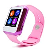 GBD 2016 New LED Light Call Alert Smart Watch for Men Women Smartwatch Bluetooth SIM Card HeartRate Text UV Measurement Monitor for Andriod Samsung Apple Iphone 6 Smartphones (Pink)