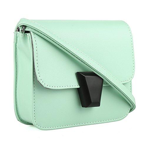 Bolso de mano - All4you moda mujeres PU cuero sólido pequeño cruz cuerpo hombro Bags(Pink) Verde