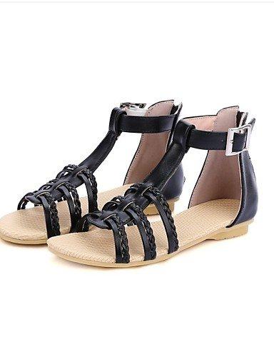 LFNLYX Zapatos de mujer-Tacón Plano-Mary Jane-Sandalias-Exterior / Casual-Semicuero-Negro / Azul / Morado Yellow