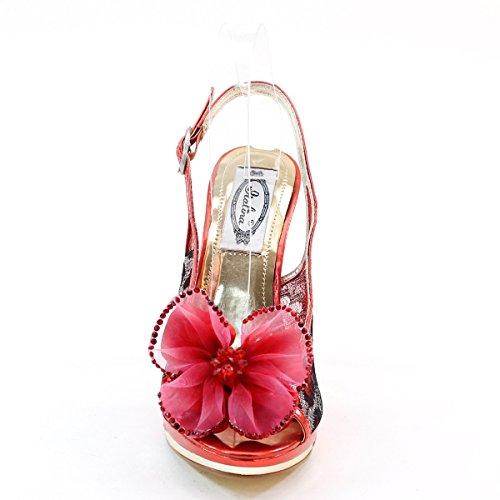 New Brieten Womens Flower Mesh High Heel Platform Slingbacks Dress Sandals Red Mhve1