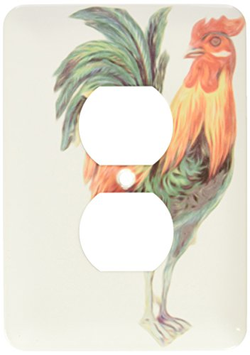Rooster Outlet Cover - 3dRose lsp_104655_6 Vintage Ornate Colorful Rooster Bird Illustration 2 Plug Outlet Cover