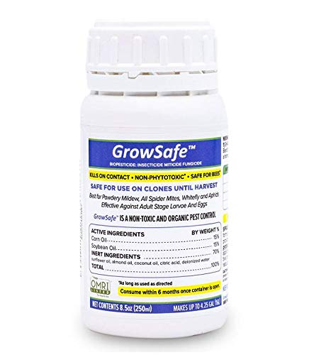 GrowSafe Bio-Pesticide Organic All-Natural Miticide,Fungicide Insecticide. Better and Safer Than Other Oils for Plants,Non-Toxic,Control Spider Mites, Powdery Mildew.Non-Phytotoxic,Concentrate (8.5oz)