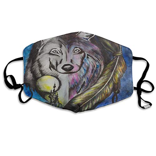 ZHOUSUN Dustproof Anti-Bacterial Washable Reusable North American Fantasy Wolf Painting Mouth Cover Mask Respirator Germ Protective Breath Healthy Safety Warm Windproof Mask ()
