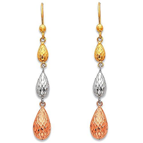 14k Yellow White Rose Gold Three Teardrops Dangle Earrings Drops Hanging Diamond Cut Tri Color 55 mm ()
