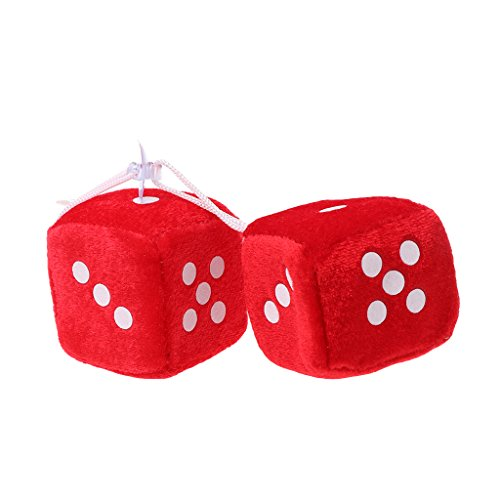 ShapeW 1 Pair Fuzzy Dice Dots Rear View Mirror Hanger Decoration Car Styling Accessorie (Red)