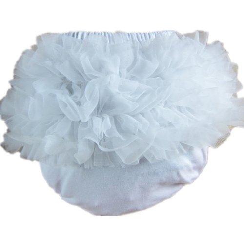Ruffle Brief - Buenos Ninos Baby Girl's Cotton Shorts and Briefs Chiffon Ruffle Bloomers Large White