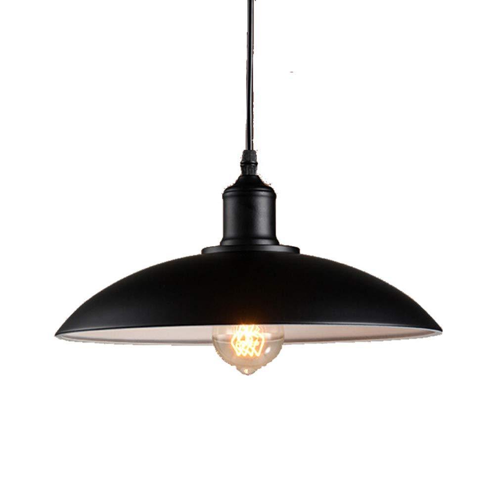 FZC-EEシャンデリア農家黒、天井照明寝室ペンダントランプ傘シェードヴィンテージ産業リビングルームE27ソケット110V-220V, A   B07TT2B27M