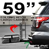 Topline Autopart 59'' Universal Blk Mesh Steel Foldable Fold Up Folding Rear Bumper Mount Trailer Hitch Luggage Cargo Carrier Rack Hauler Basket Kit For 2'' / Class 3 III Receiver Tube A1