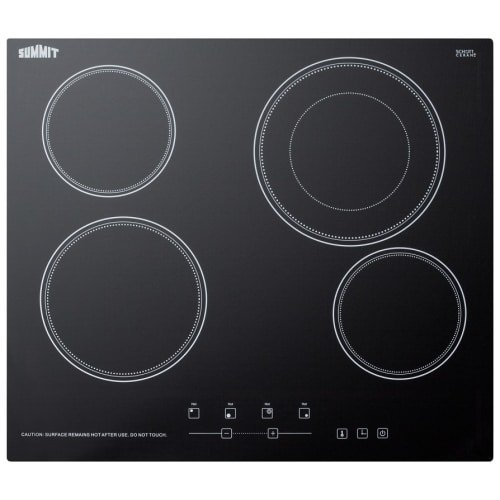 Summit Appliance 24 in. Radiant Electric Cooktop in Black with 4 Elements including Dual Zone Element
