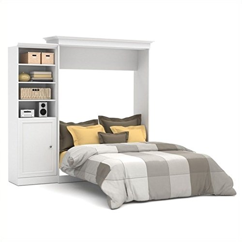 Bestar Versatile 92'' Queen Wall Bed with Door Storage Unit in White by Bestar