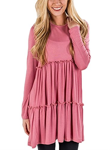 FARYSAYS Women's Long Sleeve Scoop Neck Loose Fit Ruffle Layered Babydoll Tunic Tops Pink Small