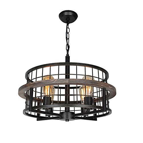 Baiwaiz Round Rustic Farmhouse Chandelier, Wood Metal Wire Cage Pendant Light Drum Shaped Industrial Chandelier Light Fixture 4 Lights Edison E26 073 (Pendant Cage Wire)
