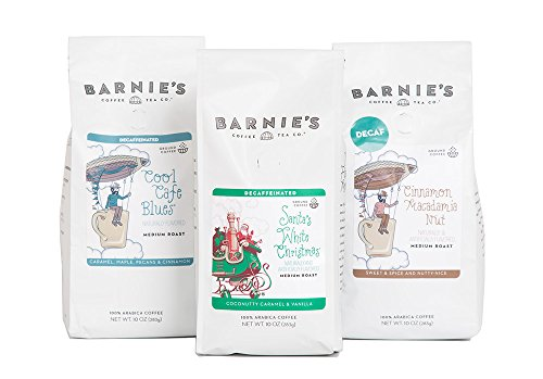 Barnie's Coffee & Tea Decaf Trio, Santa's White Christmas, Cinnamon Macadamia Nut, Cool Café Blues, Ground Coffee, Medium Roast, Arabica Coffee, Three 10 oz (Macadamia Nut Flavored Decaf Coffee)