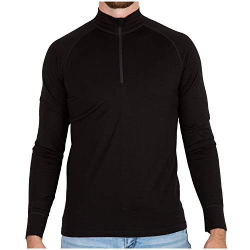 MERIWOOL Mens Merino Wool Half Zip Mock Turtleneck Pullover Sweater - Large Black