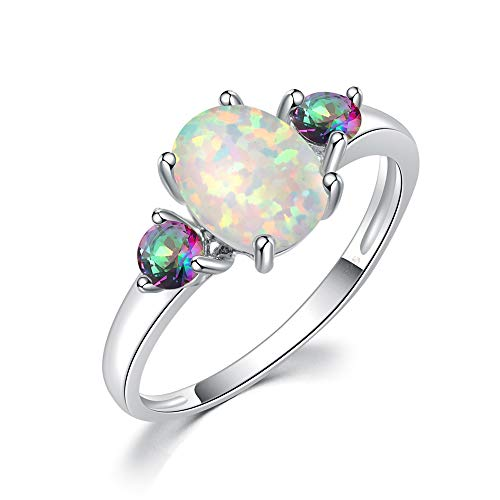 CiNily White Opal Mystic Topaz Promise Rings for her Women Jewelry Gemstone Rhodium Plated Ring Size 5-12 ()